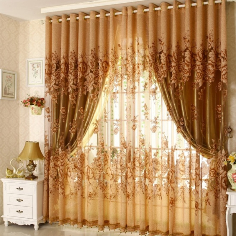 Inspiration about 3Pcs Set Curtains Blackout Vintage Lace Curtain Transparent Printing For  Bedroom Window Kitchen Ladder Belt Curtain With Window Curtains Sets With Colorful Marketplace Vegetable And Sunflower Print (#6 of 30)