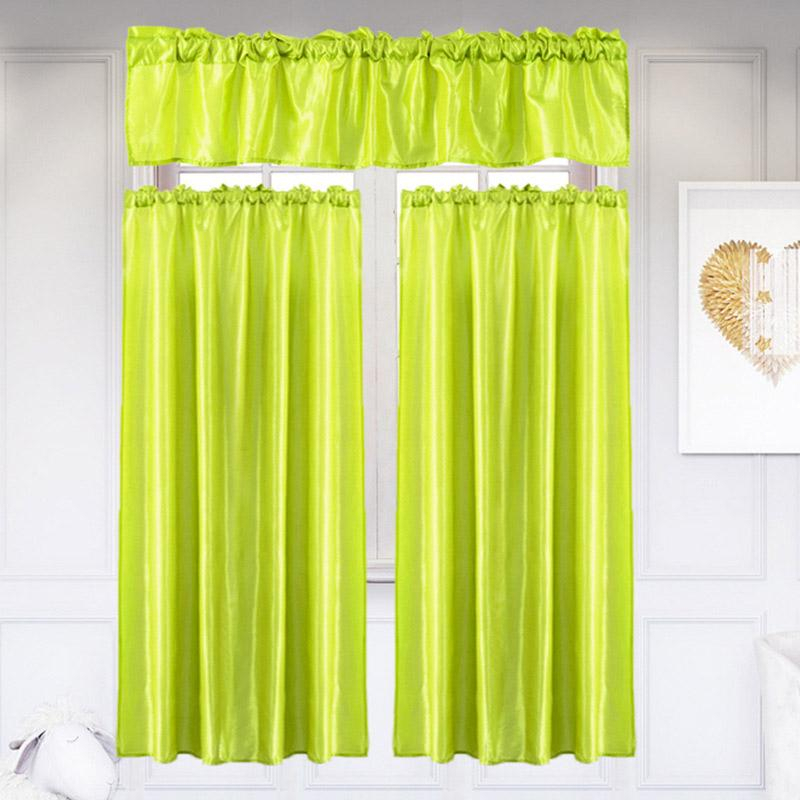 3pcs/set Pure Color Kitchen Home Curtain Intended For Chardonnay Tier And Swag Kitchen Curtain Sets (View 8 of 50)
