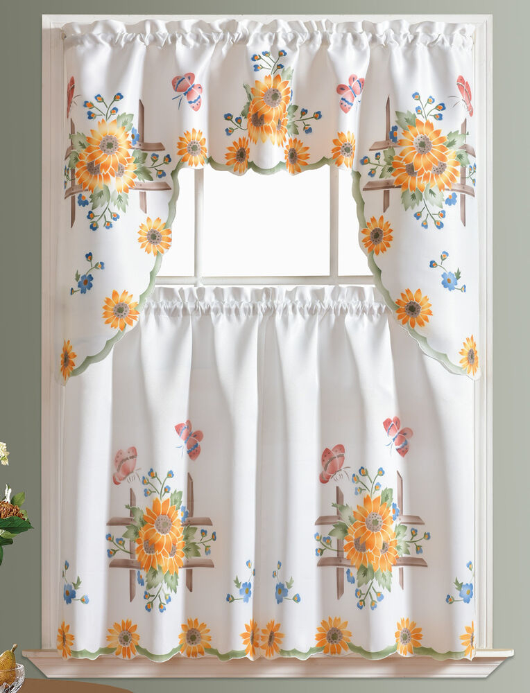 Inspiration about 3Pcs Thick Kitchen Curtain Set, Spray Painted Of Sunflower & Butterfly  Design | Ebay With Hopscotch 24 Inch Tier Pairs In Neutral (#8 of 30)