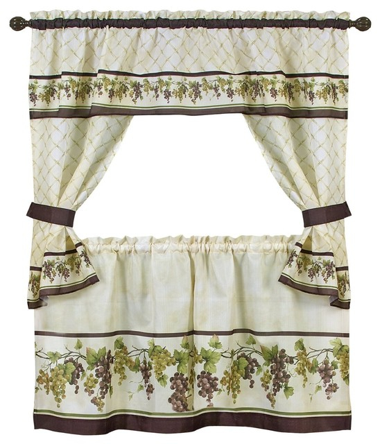4 Piece Cottage Window Set, Curtains, Tiers And Ruffled Swag, Tuscany Intended For Cottage Ivy Curtain Tiers (#10 of 49)