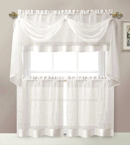 4 Pieces Linen Leaf Embroidery Kitchen Curtain Set 2 Tiers Throughout Maize Vertical Ruffled Waterfall Valance And Curtain Tiers (View 2 of 30)