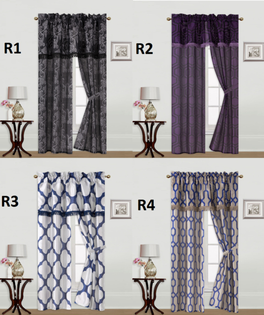 Inspiration about 5Pc Set Solid Rod Pocket Window Curtain With Valance And Tie Back Knight In Live, Love, Laugh Window Curtain Tier Pair And Valance Sets (#5 of 50)