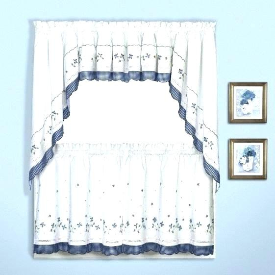 6 Piece Curtain Set Blue Kitchen Curtains Cafe Window Pertaining To Coffee Embroidered Kitchen Curtain Tier Sets (View 4 of 30)