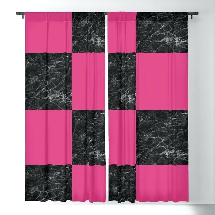 6 Piece Faux Silk Window Curtain Panels Hot Pink Black For Intended For Elegant Crushed Voile Ruffle Window Curtain Pieces (View 6 of 45)