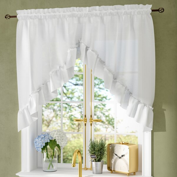 63 Inch Long Swag Curtains | Wayfair Within Silver Vertical Ruffled Waterfall Valance And Curtain Tiers (View 40 of 50)