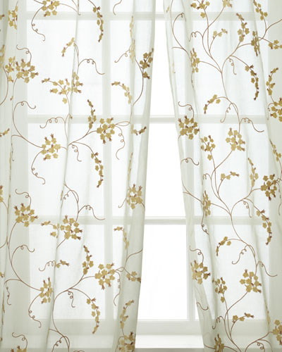 96 Inch Drape | Neiman Marcus In Ivory Micro Striped Semi Sheer Window Curtain Pieces (View 41 of 50)