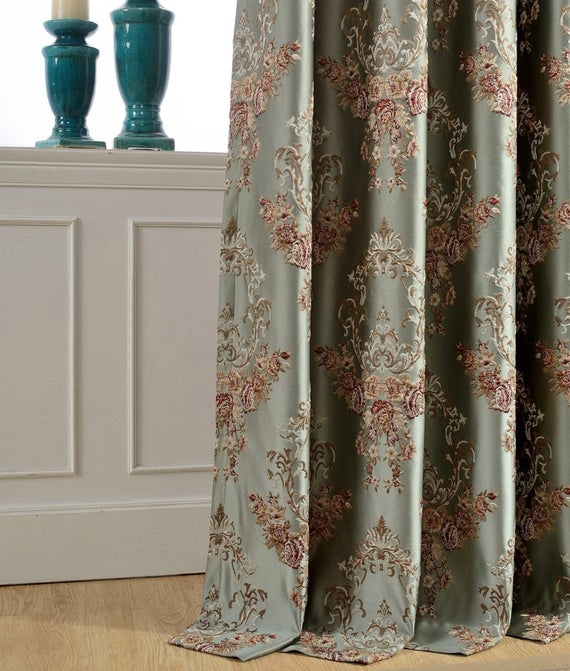 """A Pair Of Floral Damask Jacquard Custom Curtains Up To 104""""l (View 1 of 50)"""