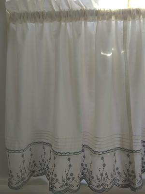 Abby Kitchen Curtain Tier Swag Pair Or Valance Wedgewood Regarding Abby Embroidered 5 Piece Curtain Tier And Swag Sets (View 3 of 30)