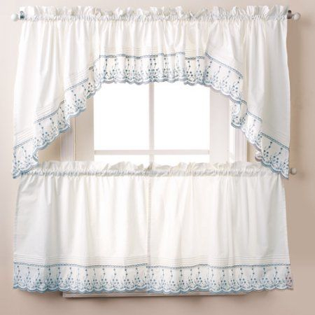 Abby Kitchen Curtains, Swag Or Valence, Wedgewood, Blue Within Fluttering Butterfly White Embroidered Tier, Swag, Or Valance Kitchen Curtains (View 1 of 50)