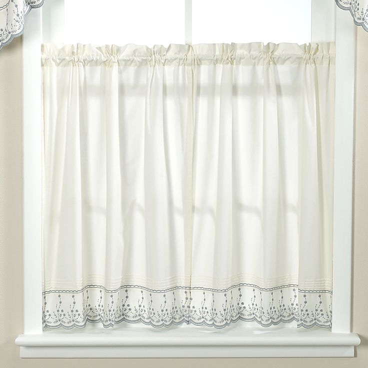 Abby Wedgwood Kitchen Window Curtain Tier Pair – 36 For Coffee Drinks Embroidered Window Valances And Tiers (View 6 of 45)