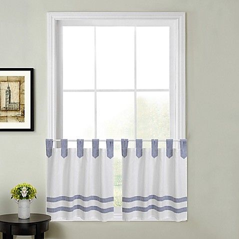 Acadia Striped Kitchen Window Curtain Tier Pair | Curtains Regarding Dove Gray Curtain Tier Pairs (View 3 of 30)