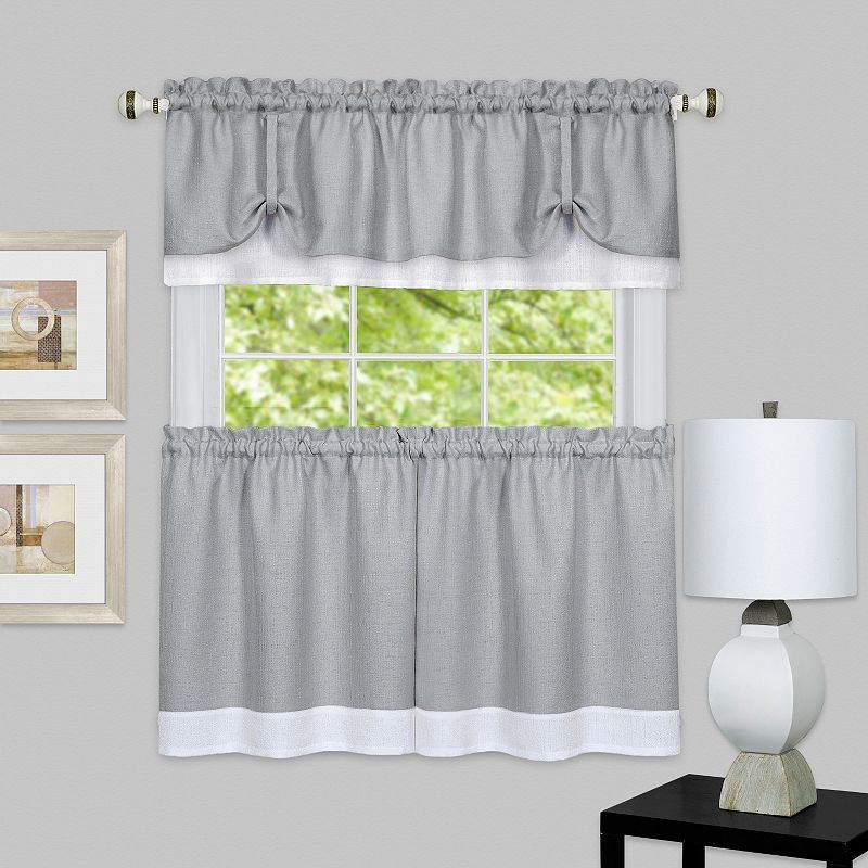 Achim 3 Piece Darcy Tier & Valance Kitchen Window Curtain For Solid Microfiber 3 Piece Kitchen Curtain Valance And Tiers Sets (#4 of 50)