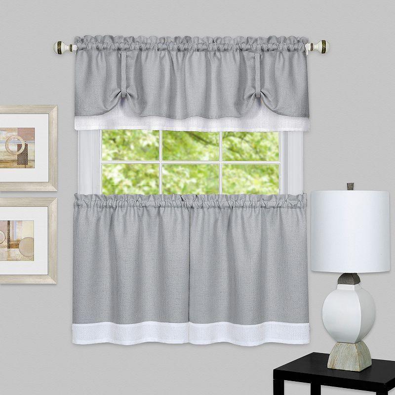 Achim 3 Piece Darcy Tier & Valance Kitchen Window Curtain Throughout Dakota Window Curtain Tier Pair And Valance Sets (#1 of 30)