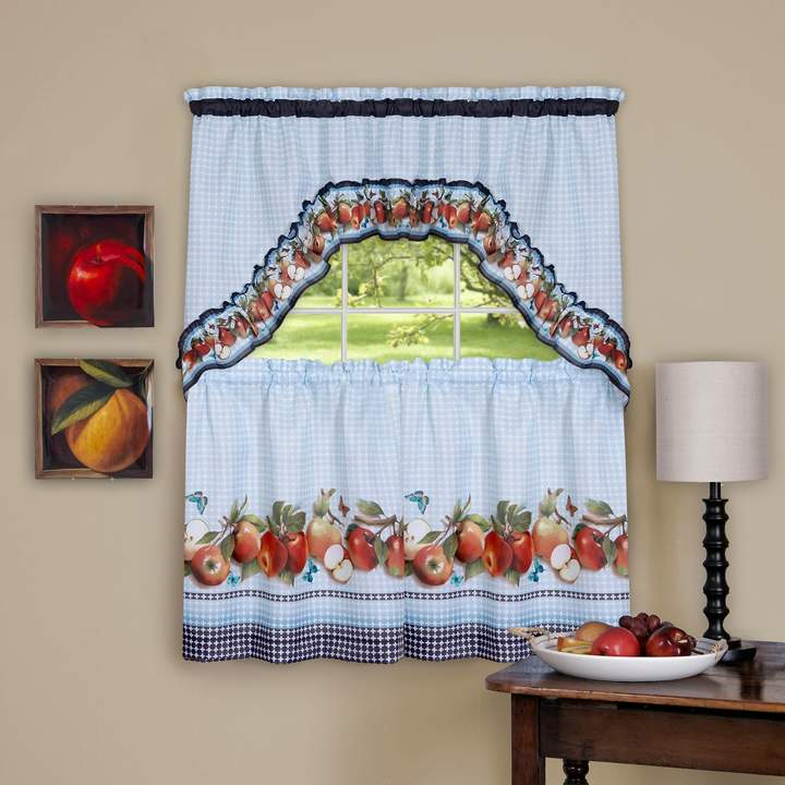 Achim 3 Piece Golden Apple Tier Swag Kitchen Window Curtain With Regard To Red Delicious Apple 3 Piece Curtain Tiers (View 9 of 50)