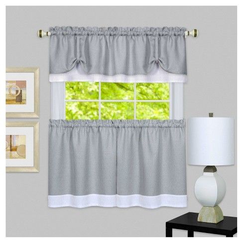 Achim 58 X24 Darcy Window Curtain Tier And Valance Set Gray Throughout Dakota Window Curtain Tier Pair And Valance Sets (#2 of 30)