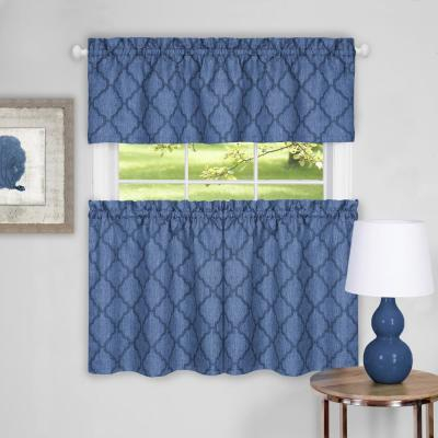 Achim Barnyard Navy Polyester Tier And Valance Curtain Set Throughout Barnyard Window Curtain Tier Pair And Valance Sets (View 7 of 50)