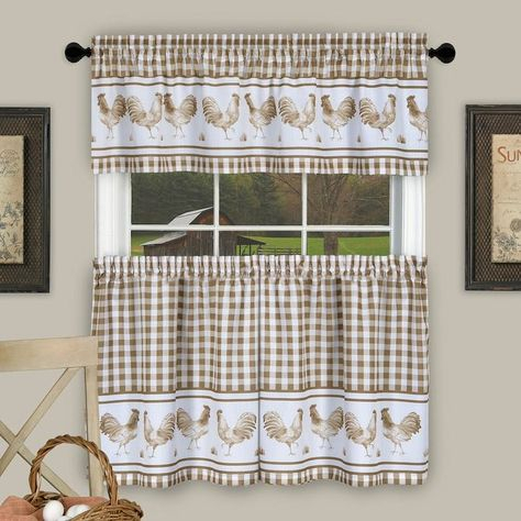 Achim Barnyard Rooster Plaid Tier & Valance Kitchen Curtain Pertaining To Lodge Plaid 3 Piece Kitchen Curtain Tier And Valance Sets (#8 of 30)