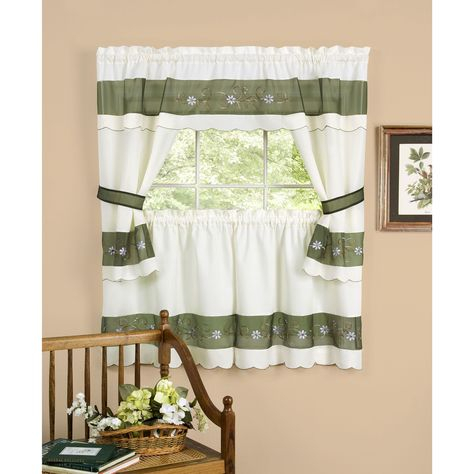 Achim Berkshire Window Curtain Cottage Set | Overstock For Cotton Blend Ivy Floral Tier Curtain And Swag Sets (View 7 of 30)