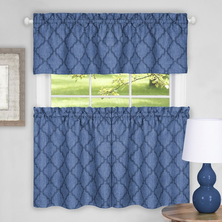 Achim Colby Trellis Tier & Valance Kitchen Curtain Set Regarding Trellis Pattern Window Valances (#1 of 30)