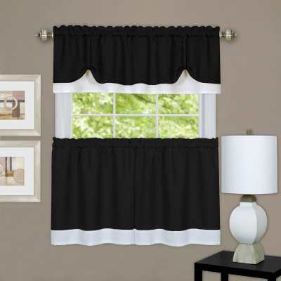 Achim Darcy Window Curtain Tier And Valance Set | Products Regarding Grey Window Curtain Tier And Valance Sets (View 2 of 50)