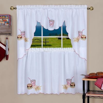 """Achim Fast Food 24"""" Rod Pocket Kitchen Window Tier And Swag With Regard To Dakota Window Curtain Tier Pair And Valance Sets (#9 of 30)"""