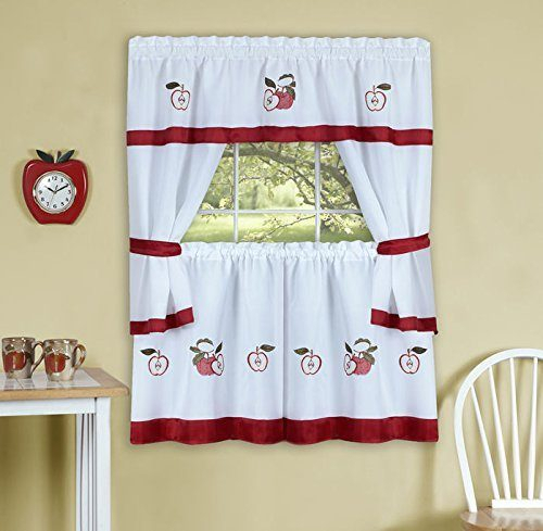 Achim Gala Apple Tier Curtains – Everything Log Homes With Delicious Apples Kitchen Curtain Tier And Valance Sets (View 19 of 30)