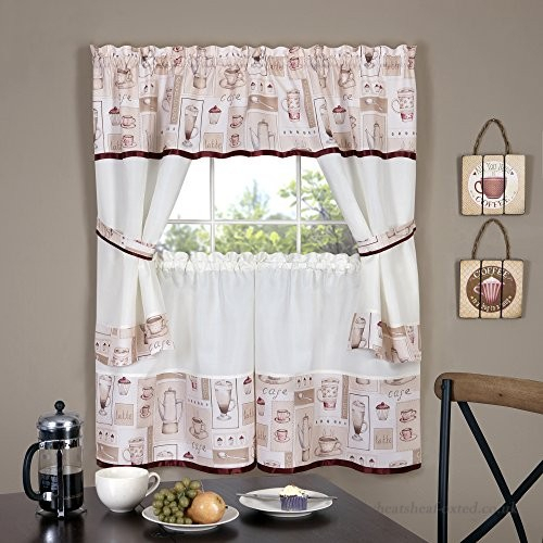 Achim Home Furnishings Cappuccino Embellished Cottage Window In Barnyard Window Curtain Tier Pair And Valance Sets (View 10 of 50)