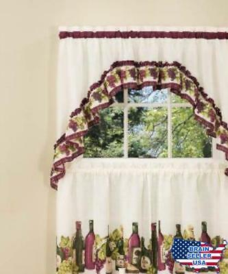Achim Home Furnishings Chardonnay Tier And Swag Set, 57 Inch36 Inch, Burgund 885392166790 | Ebay In Chardonnay Tier And Swag Kitchen Curtain Sets (View 2 of 50)