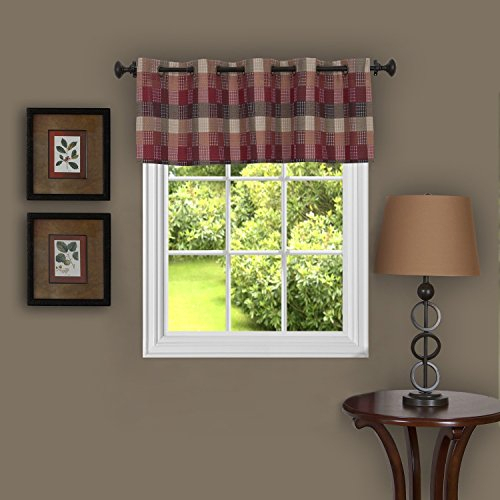 Achim Home Furnishings Harvard Window Curtain Valance With Intended For Burgundy Cotton Blend Classic Checkered Decorative Window Curtains (View 1 of 30)
