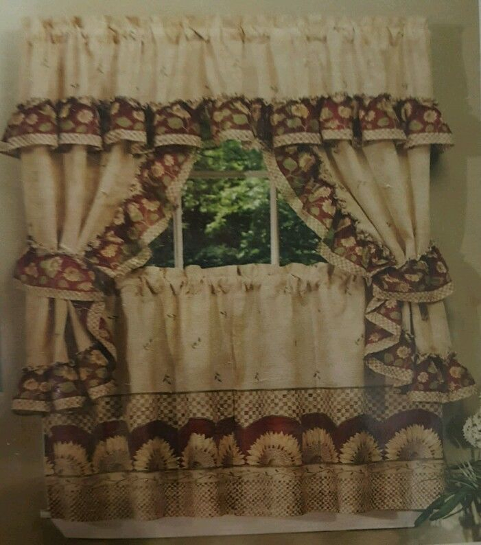 Achim Home Furnishings Valances Sunflower Cottage Set In Sunflower Cottage Kitchen Curtain Tier And Valance Sets (#7 of 50)