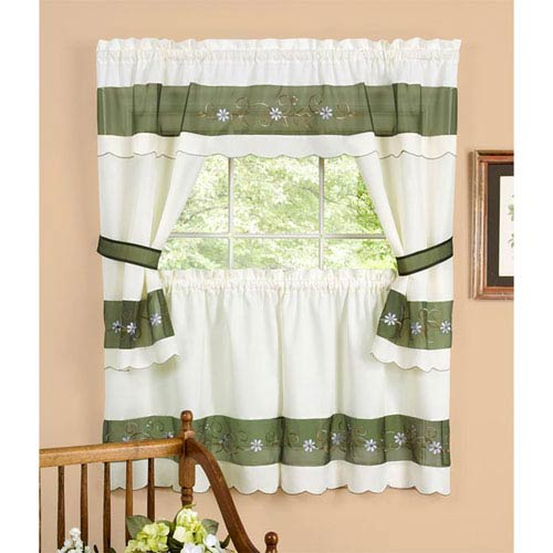 Achim Importing Company Berkshire Green Embellished Cottage Window Curtain Set Throughout Dakota Window Curtain Tier Pair And Valance Sets (View 30 of 30)
