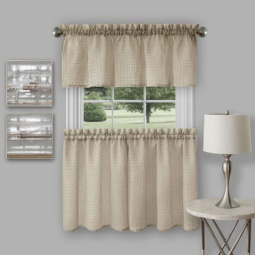 Achim Importing Company Richmond Tan Curtain Tier Pair And Throughout Hopscotch 24 Inch Tier Pairs In Neutral (View 2 of 30)