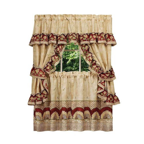 Achim Importing Company Sunflower Cottage Window Curtain Set Within Sunflower Cottage Kitchen Curtain Tier And Valance Sets (#8 of 50)
