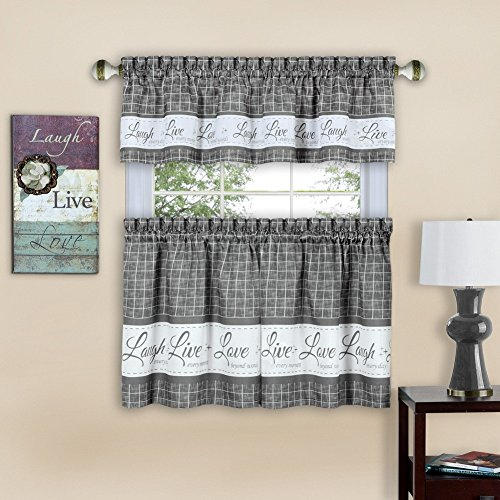 Achim Live, Love, Laugh Window Curtain Tier Pair And Valance Set Regarding Lemon Drop Tier And Valance Window Curtain Sets (#5 of 30)