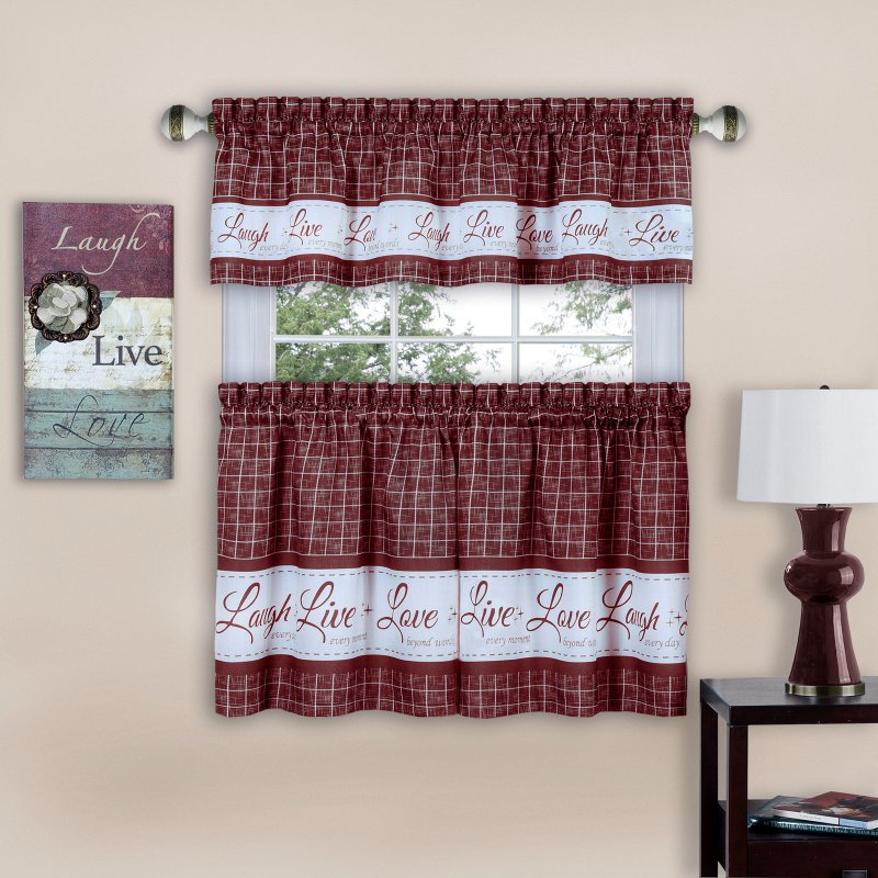 Achim Live Love Laugh Window Curtain Tier Pair And Valance With Grace Cinnabar 5 Piece Curtain Tier And Swag Sets (View 6 of 30)