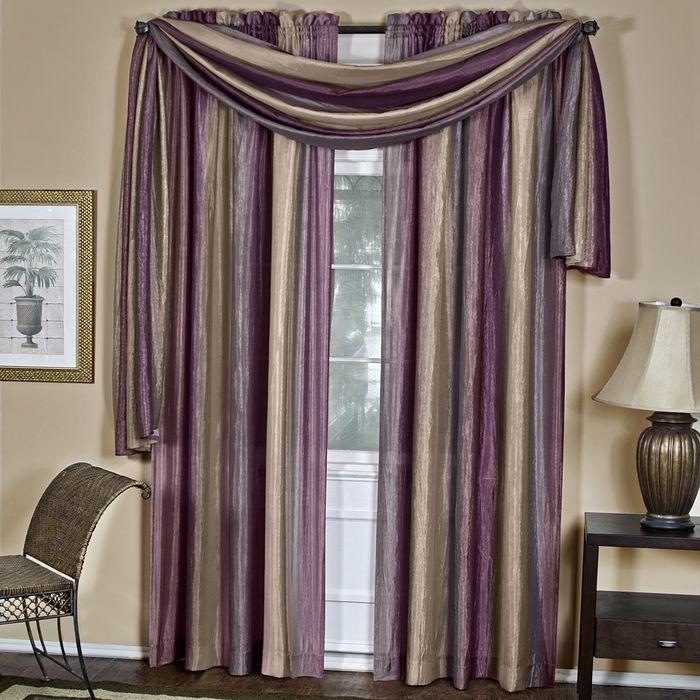 Achim Ombre Window Curtain Scarf, Aubergine For 5 Piece Burgundy Embroidered Cabernet Kitchen Curtain Sets (#4 of 50)