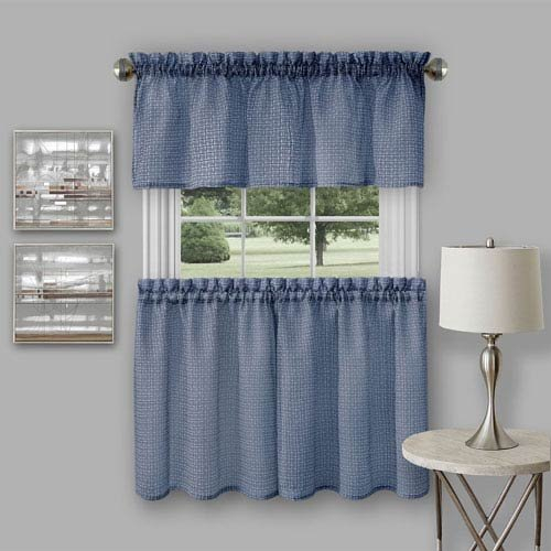 Achim Ritv24Ny01 Window Kitchen Curtain Tier Pair And With Regard To Grey Window Curtain Tier And Valance Sets (View 5 of 50)