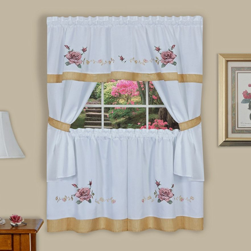 Achim Rose Cross Stitch Embroidered Tier & Swag Valance With Regard To 5 Piece Burgundy Embroidered Cabernet Kitchen Curtain Sets (#5 of 50)