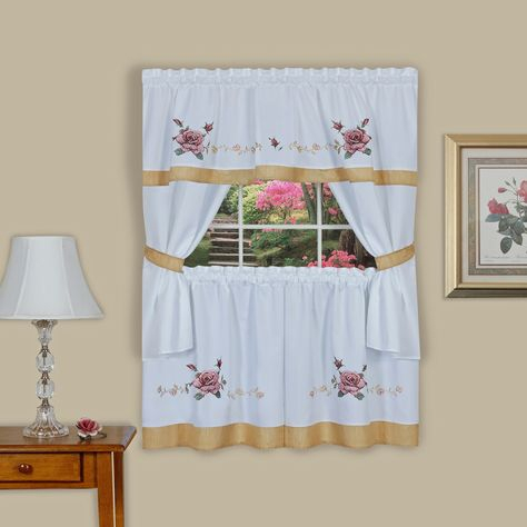 Achim Rose Embellished Cottage Window Curtain Set (57X36 Within French Vanilla Country Style Curtain Parts With White Daisy Lace Accent (View 1 of 50)