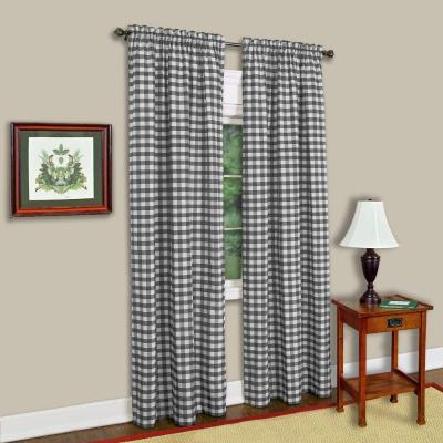 Achim Semi Opaque Buffalo Check Navy Poly/cotton Window Intended For Cumberland Tier Pair Rod Pocket Cotton Buffalo Check Kitchen Curtains (View 2 of 30)