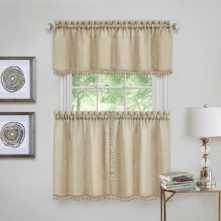 Achim Wallace Window Kitchen Curtain Tier Pair And Valance Set – 58X24 –  Linen Intended For Live, Love, Laugh Window Curtain Tier Pair And Valance Sets (View 10 of 50)