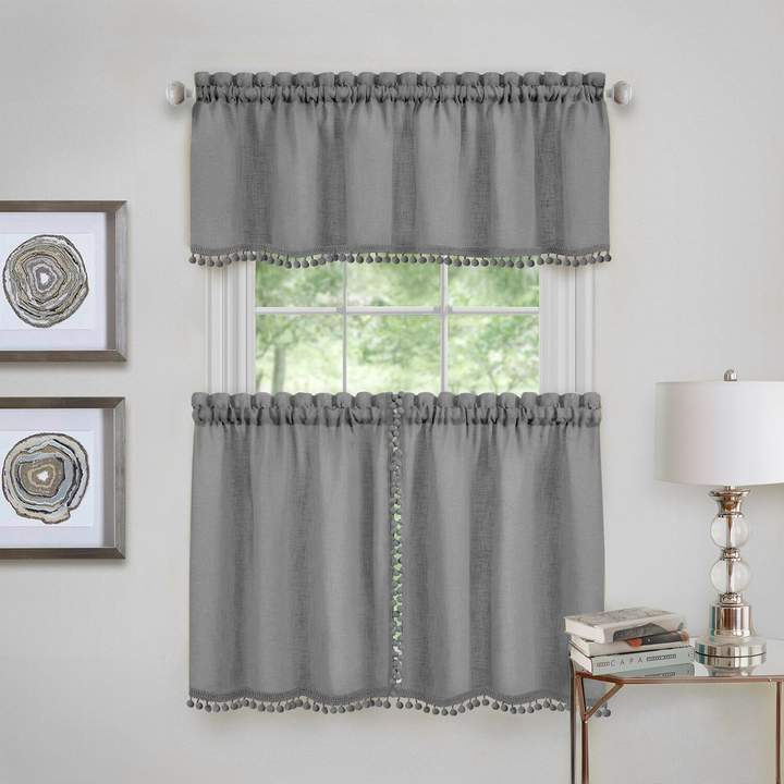 Achim Wallace Window Kitchen Curtain Tier Pair & Valance Set Within Pintuck Kitchen Window Tiers (#2 of 43)