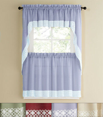"""Adirondack Cotton Kitchen Window Curtain 36"""" Tiers, Swags For Cotton Classic Toast Window Pane Pattern And Crotchet Trim Tiers (View 6 of 50)"""