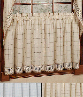 "Adirondack Cotton Kitchen Window Curtains – 24"" X 60"" Tier In Cumberland Tier Pair Rod Pocket Cotton Buffalo Check Kitchen Curtains (View 4 of 30)"