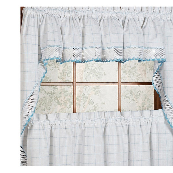 """Adirondack Cotton Kitchen Window Curtains 38"""" Swag Pair In Cotton Classic Toast Window Pane Pattern And Crotchet Trim Tiers (View 16 of 50)"""