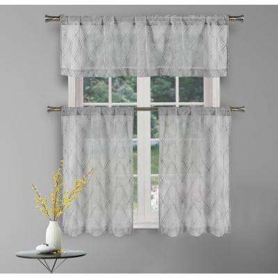 Adley Silver Kitchen Curtain Set – 58 In. W X 15 In (View 2 of 30)