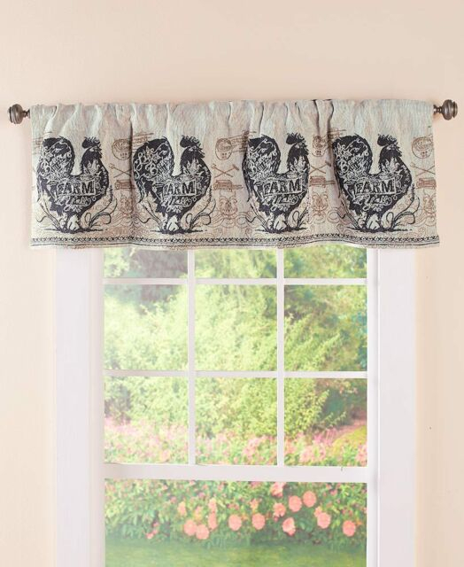Agrarian French Country Rooster Tapestry Valance Rooster Farmhouse Valance Intended For Barnyard Buffalo Check Rooster Window Valances (View 1 of 30)