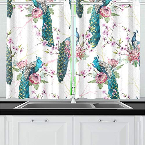 Aikening Peacock On Tree Cherry Kitchen Curtains Window Curtain Tiers For Café, Bath, Laundry, Living Room Bedroom 26 X 39 Inch 2 Pieces In Kitchen Curtain Tiers (View 39 of 50)