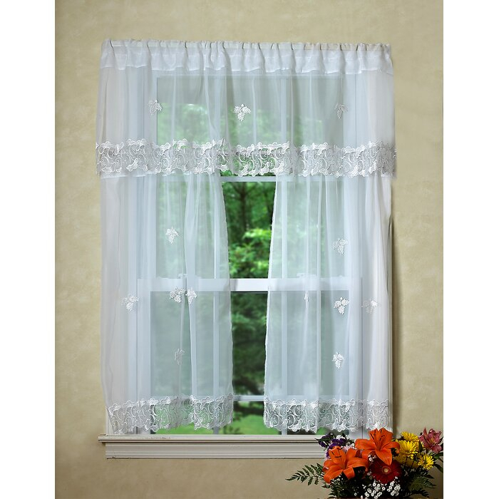 Alaysia Sheer Kitchen Curtain Valance And Tier Set Regarding Floral Embroidered Sheer Kitchen Curtain Tiers, Swags And Valances (View 3 of 50)