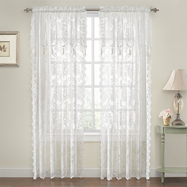 Alison Lace Curtains | Wayfair With Regard To Marine Life Motif Knitted Lace Window Curtain Pieces (#8 of 48)